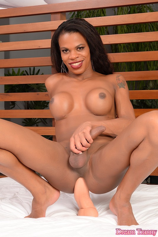 Lavinia Magalhaes Black TGirl Loves Her Big White Dildo (2 January 2018)