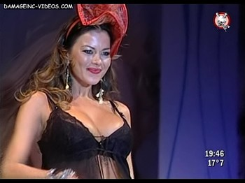Busty Karina Jelinek in black bra and lingerie
