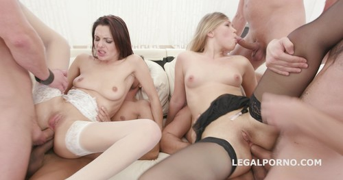 LegalPorno.com - Double Addicted 5on2 with Anal Fisting Dominica Phoenix and Selvaggia No Pussy / Balls Deep / DAP / Gapes / Swallow GIO458