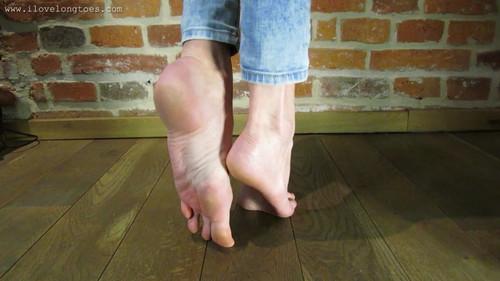 Bare long feet