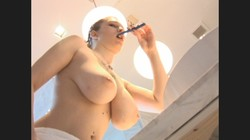 Bbw with big tits brushing her teeth