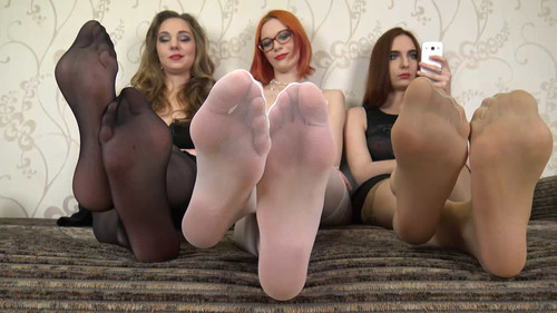 Eva & Judy & Angela - big soles in stockings Full HD
