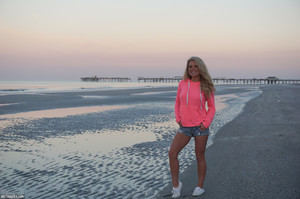 M33t M@dden           Pink Hoodie On The Beach