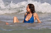 Giada De Laurentiis Bikini Nipple Slip at the Beach