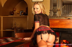 Hannah Claydon short tartan skirt and college